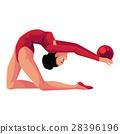 Beautiful, flexible girl in leotard doing rhythmic 28396196