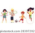 Kids twirling hula hoop, playing badminton, soccer 28397202