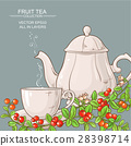cup of cranberry tea and teapot 28398714