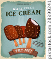 Grunge And Vintage Ice Cream On Wood Stick Poster 28399241