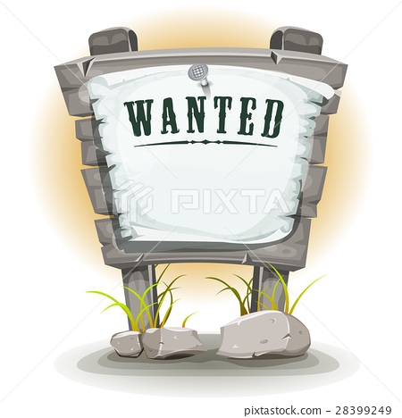 Cartoon Stone Sign With Wanted On Torn Paper 28399249