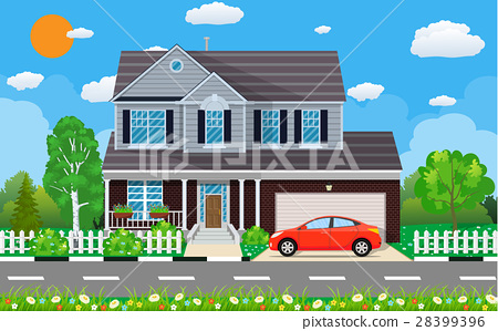 Private suburban house with car, 28399396