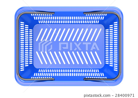 Blue shopping basket top view, 3D rendering 28400971