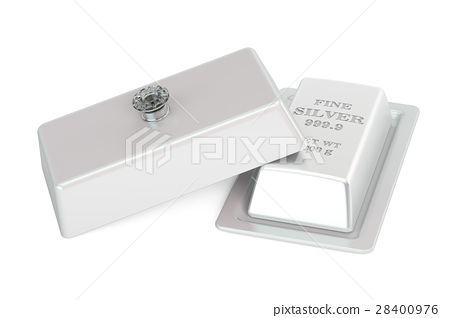 Financial concept. Silver bar on a platter 28400976
