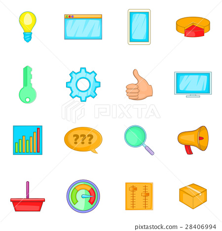 Marketing icons set, cartoon style 28406994