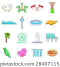 Singapore travel icons set, cartoon style 28407115