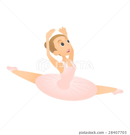 Ballerina jumps icon, flat style 28407703