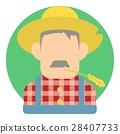 Avatar male farmer icon, flat style 28407733