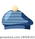 Blue hat with a pompon icon, cartoon style 28408163