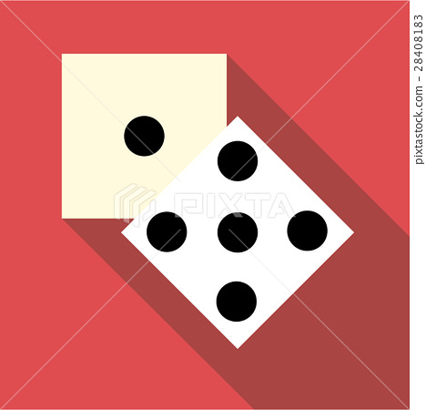 Two dice cubes icon, flat style 28408183