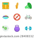 Healthy lifestyle icons set, cartoon style 28408332