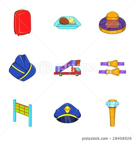Flying om plane icons set, cartoon style 28408926