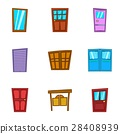 Front door icons set, cartoon style 28408939