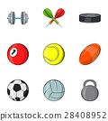 Sports equipment icons set, cartoon style 28408952