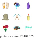Death icons set, cartoon style 28409025