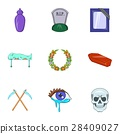Death of person icons set, cartoon style 28409027
