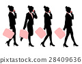 silhouette of business woman 28409636