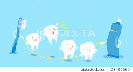 cartoon tooth play happily 28409669