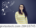 Young smiling woman on blue gray background with 28410745