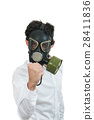 fine portrait of man with classic old mask gas 28411836