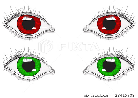 Eyes. Red and green cartoon eyes. Hand drawn 28415508