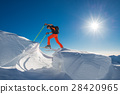 A man alpine skier climb on skis and sealskins  in so much snow 28420965