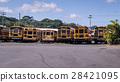 American school bus rear view in a row 28421095