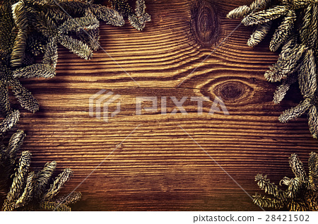 wooden board with fir branches 28421502