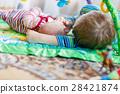 Happy little kid boy with newborn baby sister girl 28421874