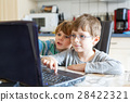 Two kids boys playing online and surfing in 28422321
