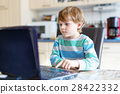 kid boy surfing internet and playing on computer 28422332