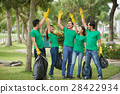Cheerful young people collected garbage 28422934