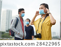 Asian woman putting on protective mask 28422965