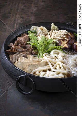 Sukiyaki in traditional Japanese Cast Iron Pot 28423885