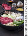 Sukiyaki in traditional Cast Iron Pot 28423893