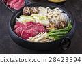 Sukiyaki in traditional Cast Iron Pot 28423894