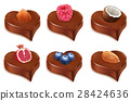 chocolate candy with different fruits 28424636