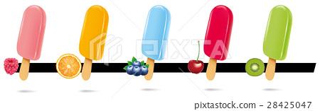 multicolor ice cream lollipops on wooden stick 28425047