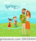 Family And Season Spring Illustration 28426404