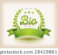 Bio And Eco Label With Green Banner 28429861
