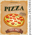 Grunge And Vintage Pepperoni Pizza Poster 28429893