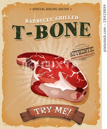 Grunge And Vintage T-Bone Steak Poster 28429894
