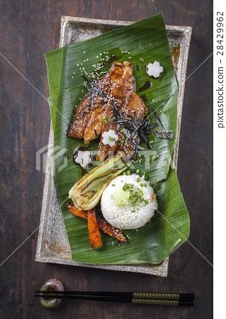 Unagi filet with Vegetable and Rice 28429962