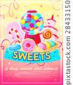 Sweets shop poster, vector illustration 28433150