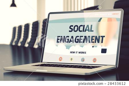Social Engagement Concept on Laptop Screen. 3D. 28433612