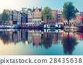 Night city view of Amsterdam canal with dutch 28435638