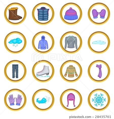Winter clothes vector set, cartoon style 28435701