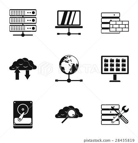 Computer setup icons set, simple style 28435819