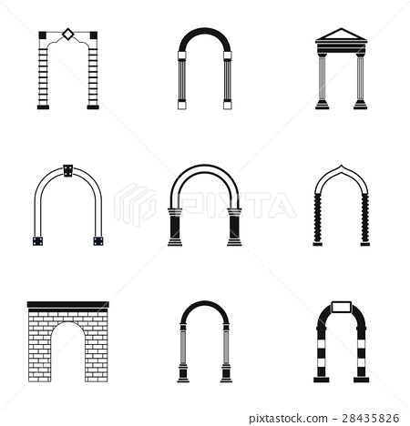 Arch icons set, simple style 28435826