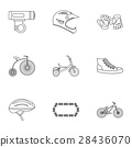 Cycling icons set, outline style 28436070
